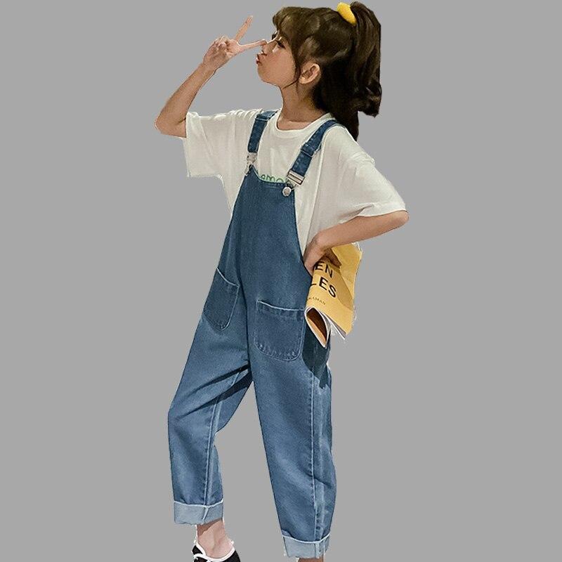 Ropa para Niñas, monos de verano, pantalones holgados con tirantes para niñas, pantalones vaqueros con botones y volantes, pantalones azules para niños, ropa vaquera para niños