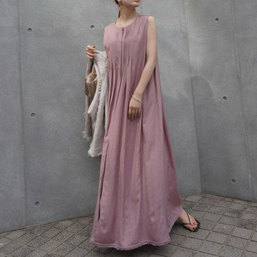 Summer 2021 Japanese Style Korean Fashion Solid Color Temperament Simplicity Gather Round Neck Sleev