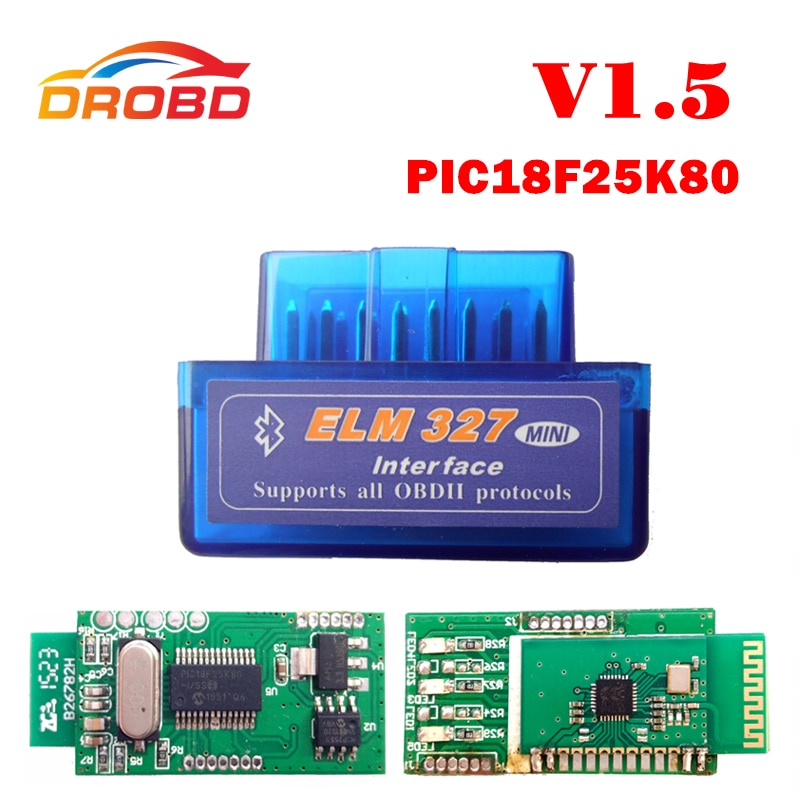 original v1 5 elm327 bluetooth adapter pic18f25k80 eml327 obd2 1 5 for android pc works with forscan elm 327 obd2 1 5 in russian ELM327 V1.5 Obd Bluetooth Diagnostic Tool Obd2 Adapter ELM 327 Elm327 PIC18F25K80 Support ATPPS Android Automotive Scanner
