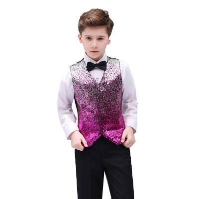 Children Sequin Slim Carnival Suit Vest Christmas Boy Modern Dancing Jazz Sleeveless Waistcoat Magician Host Fashion Costume