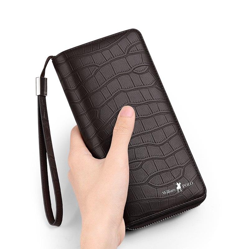 جلد الرجال محفظة الموضة طويلة الأعمال سعة كبيرة بطاقة مقعد عالية الجودة العلامة التجارية حقيبة يد محفظة نسائية للعملات المعدنية