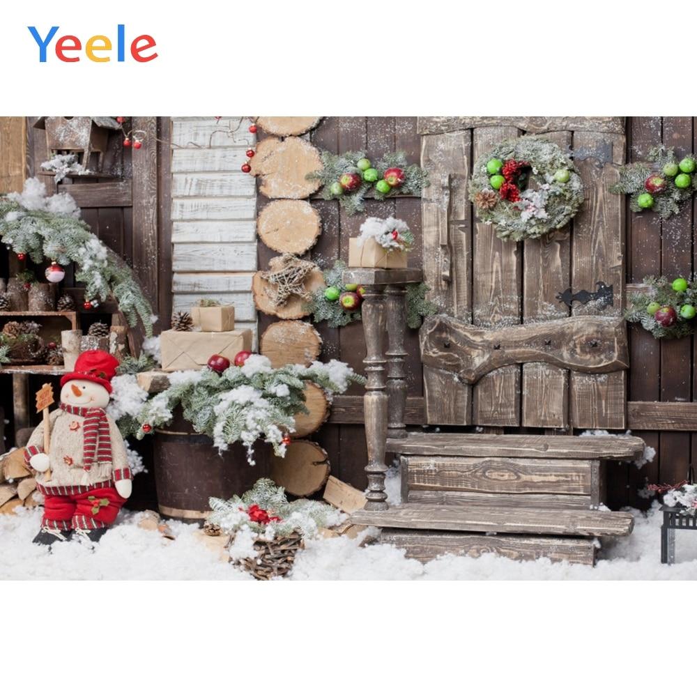 Yeele Фотофон для рождества новорожденных детей Фотография фоны деревянная дверь зеленая гирлянда Фотостудия Фото фоны