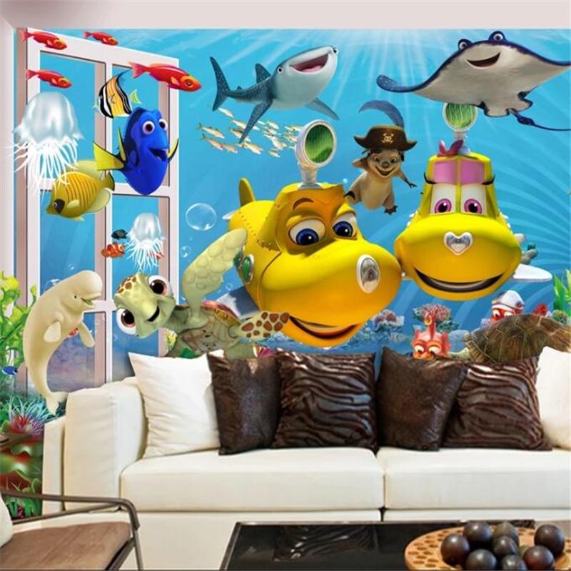 Papel tapiz con Grandes murales de dirección personalizada, imagen 3D para mejorar el hogar, la habitación de los niños con dibujos animados en 3D