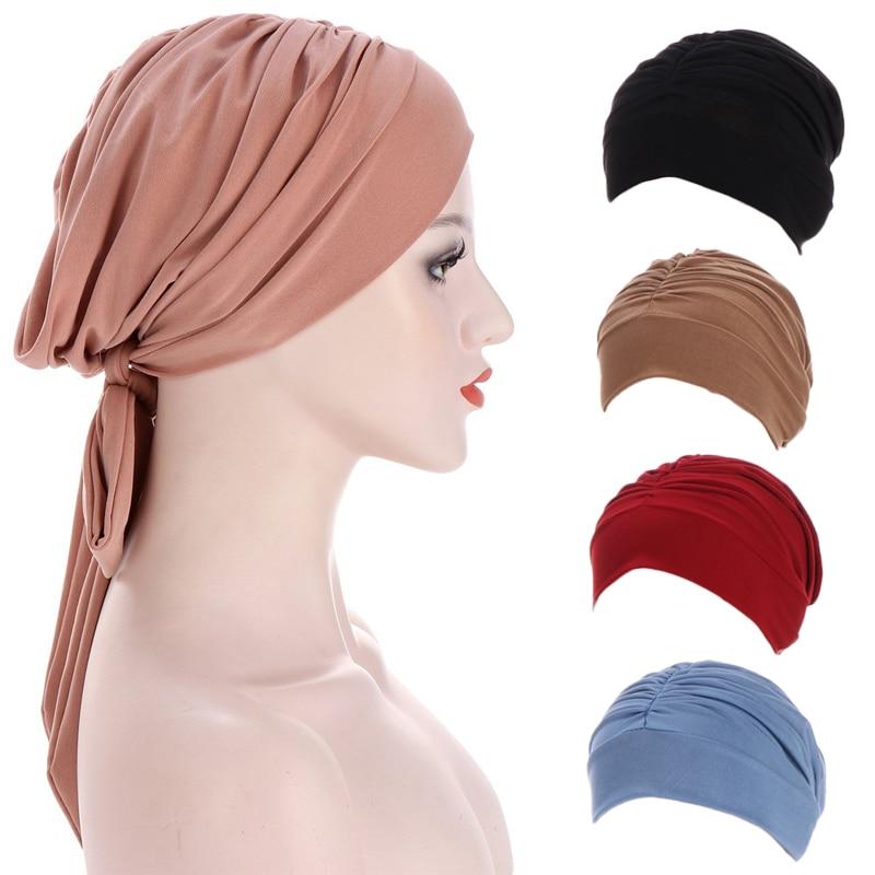 Hats for women beanies Long tail bow turban hat Elastic Bandana Muslim Hijabs cap red Chemo Cancer Cap Hair Loss Hat