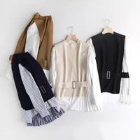 womens light mature spring autumn and winter new fashion round neck pleated shirt belt vest sweater long sleeve women