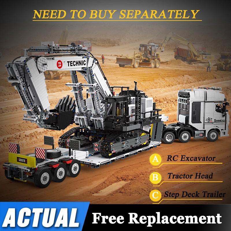 City Technical RC 42100 Excavator MOC 29877 Truck Car Cargo Shipping Container Step Deck Spread Trai
