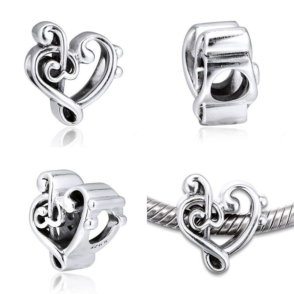 Fit Pandora Подвески из серебра 925 пробы, ажурная подвеска из бисера с сердечками для браслетов, оригинальный браслет для изготовления ювелирных ...