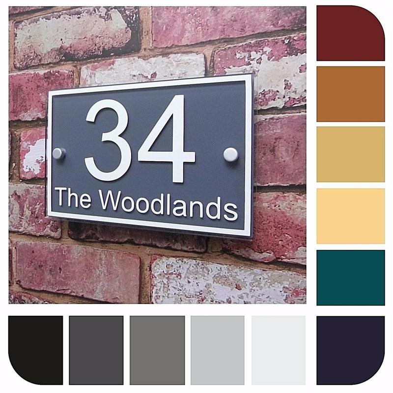 Sinal da casa número da casa número da porta nome placa número da casa placa endereço da rua efeito de vidro moderno