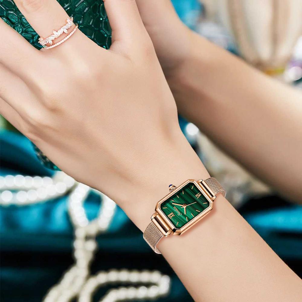 LIGE Brand SUNKTA Luxury Ladies Watches Fashion Rose Gold Women Watch Ultra thin Mesh Strap Waterproof Clock Small Green Table enlarge