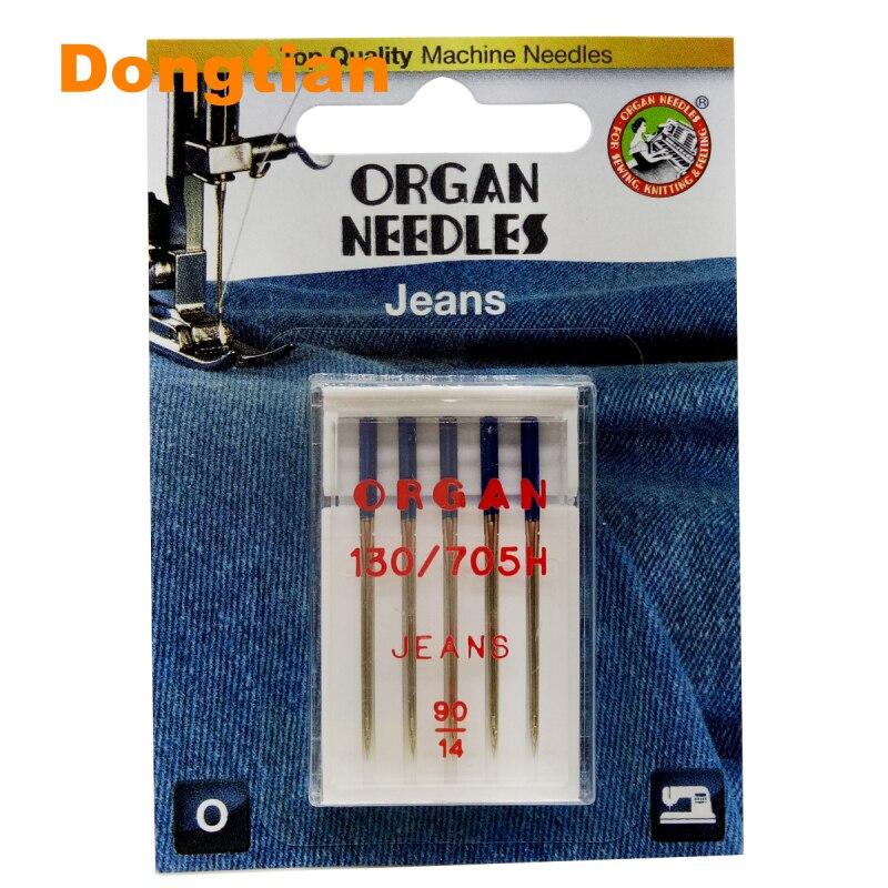 Иглы для джинсов Organ, высококачественные иглы для джинсов, искусственная кожа, толстая ткань, размер 90 100 110