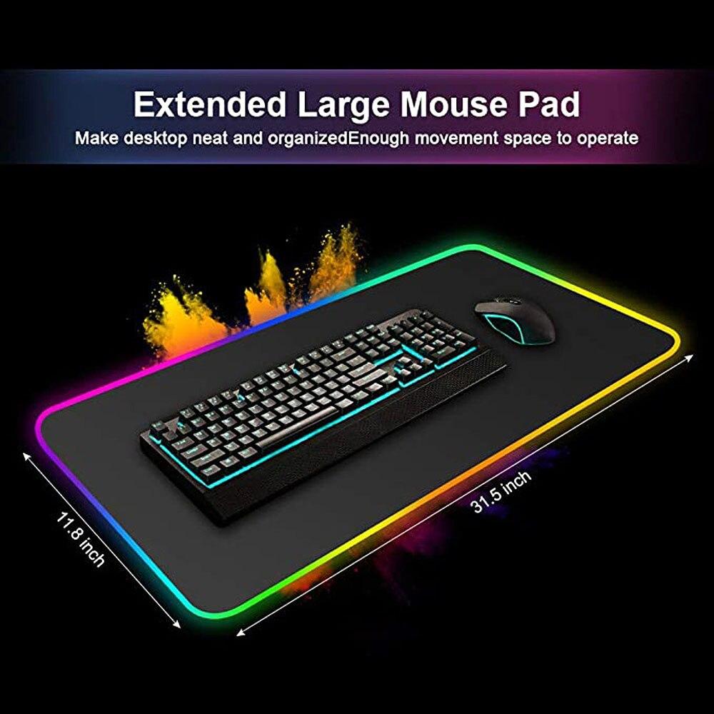 Large Size Colorful Luminous RGB Gaming Mouse Pad Anti-Slip Rubber Base Computer Keyboard Anti-slip  For PC