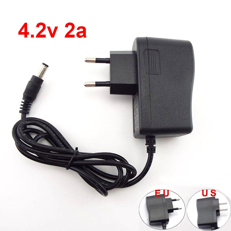 4,2 V 2A adaptador de cargador de fuente de alimentación de CC de 5,5 MM * 2,5 MM 110-220V para la batería de litio 18650 UE/USPlug