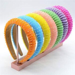 Shiny Crystal Beaded Hairband Width Adjustable Handmade Diamante Headbands for Women Designer 2021New Fashion Hair Accessories