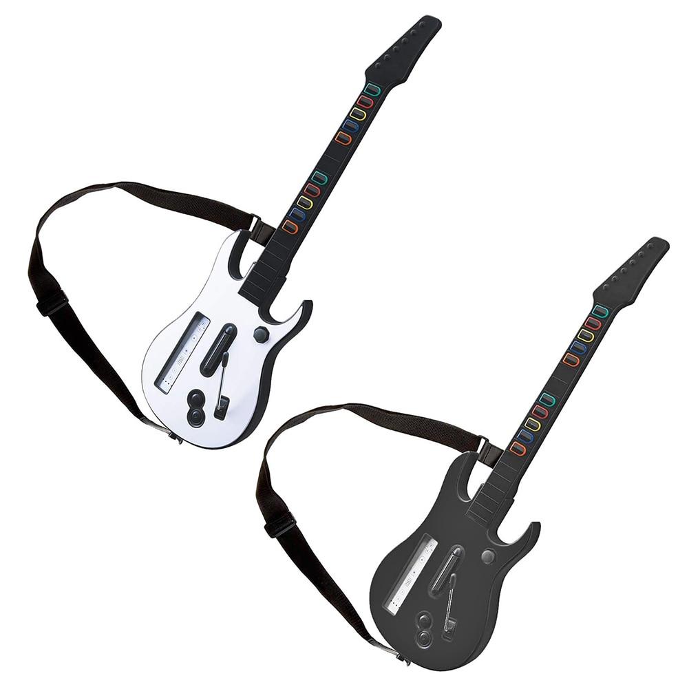 وحدة تحكم لاسلكية مع حزام قابل للتعديل لجيتار Wii ، Hero ، Rock Band 2 ، 3 ألعاب ، وحدة تحكم ، أسود وأبيض
