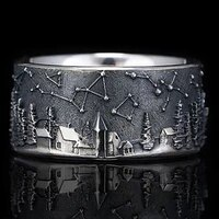 vintage european pastoral life constellation ring for men delicate handmade carved herd animal ring men women wedding jewelry