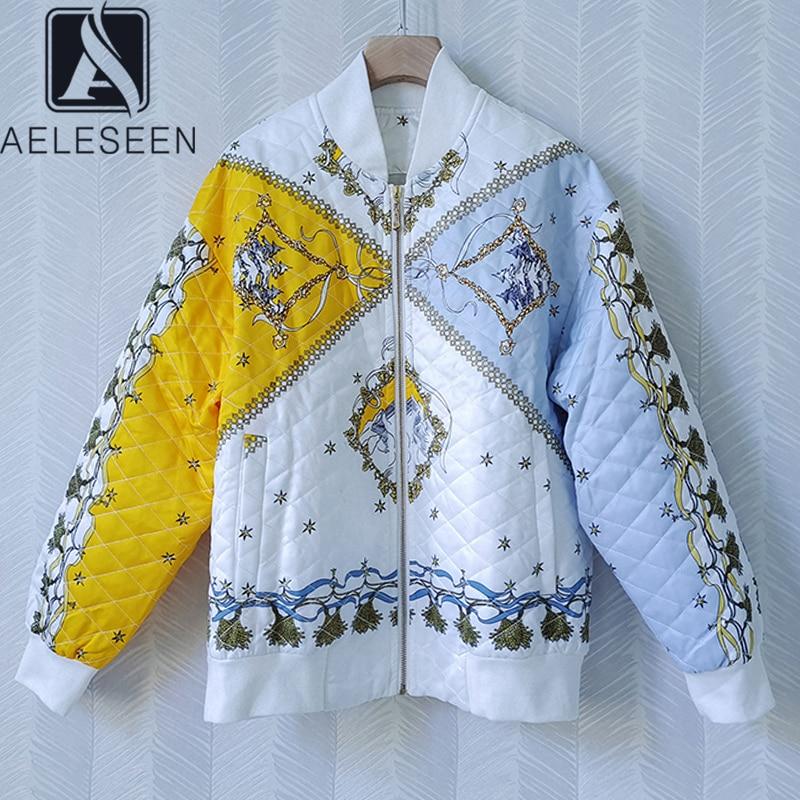AELESEEN الخريف الشتاء معطف دافئ 2021 عالية الجودة زهرة طباعة كم طويل عادية سميكة مبطن معطف سترة