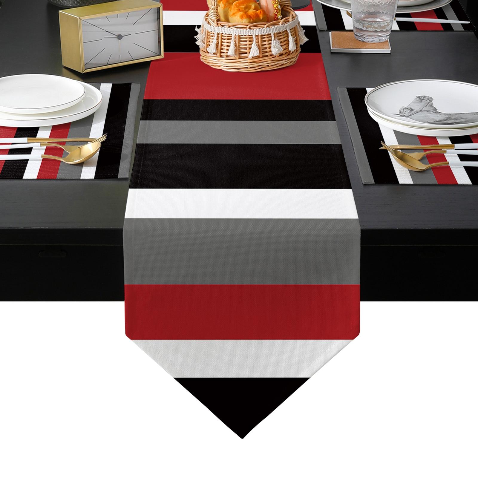 أحمر أسود أبيض المشارب هندسية الجدول عداء و تحديد الموقع مجموعة الجدول العلم الجدول الحصير للمنزل الحديث ديكور حفلات الزواج