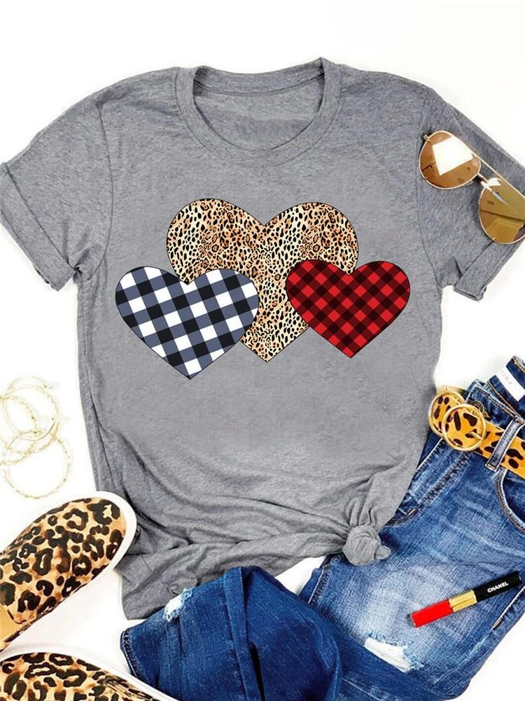 Camiseta con estampado de leopardo de corazones a cuadros con estampado de colores para el Día de San Valentín