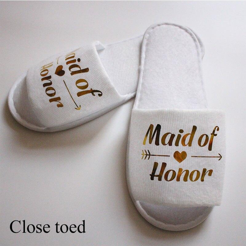 1 par de pijamas dorados con letra brillante para boda, zapatos de fiesta para dama de Honor, Spa, zapatillas desechables plegables portátiles para casa