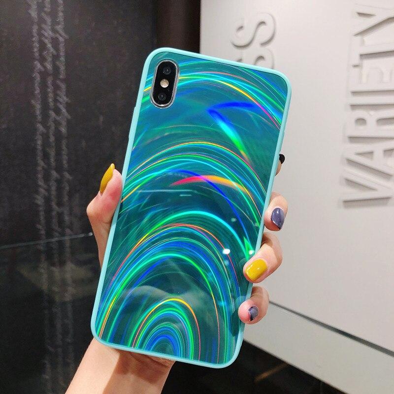 Carcasa 3D con espejo y textura de arcoíris para iphone X XS 11 Pro Max XR, bonita funda de silicona a prueba de golpes para iphone 6 6s 7 8 Plus