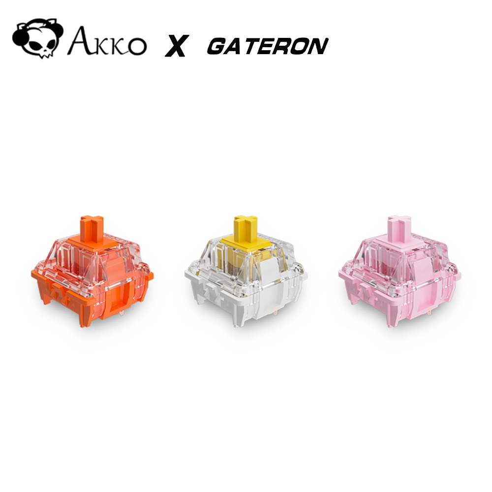 AKKO x Gateron برتقالي وردي أصفر التبديل للوحة المفاتيح الميكانيكية الخطية اللمس 3 دبابيس التشحيم تخصيص لتقوم بها بنفسك لعبة الكمبيوتر