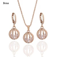 classic aesthetic cubic zirconia jewelry sets hollow round ball necklace earrings jewelry sets for women wedding party gift