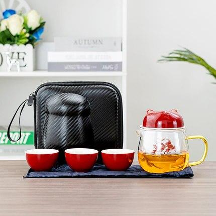 السفر السريع ضيف كوب المحمولة إبريق الشاي أكواب السيراميك القط الإبداعية 1 وعاء 4 أكواب حقيبة يد الشاي والماء فصل الشاي