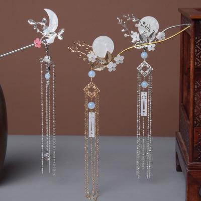Antique Hair Ornaments, Tassel Edge, Step Shaking Hairpin, Girls Coiled Hairpin, Accessories and Headgear