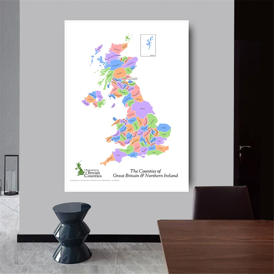 100*150 Cm The Countries Of Great Britain and Northern Ireland Map Poster Non-woven Canvas Painting Home Decor School Supplies