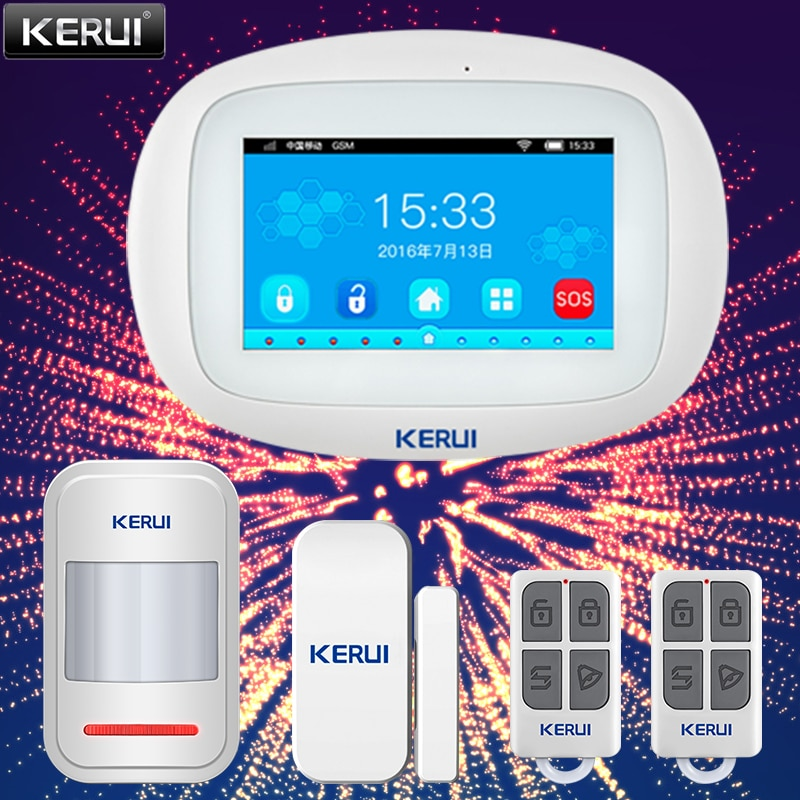 KERUI K52 Smart Home Alarm System Touch Screen Color Display GSM Wifi App Control Security Family Motion Sensor Wireless Siren