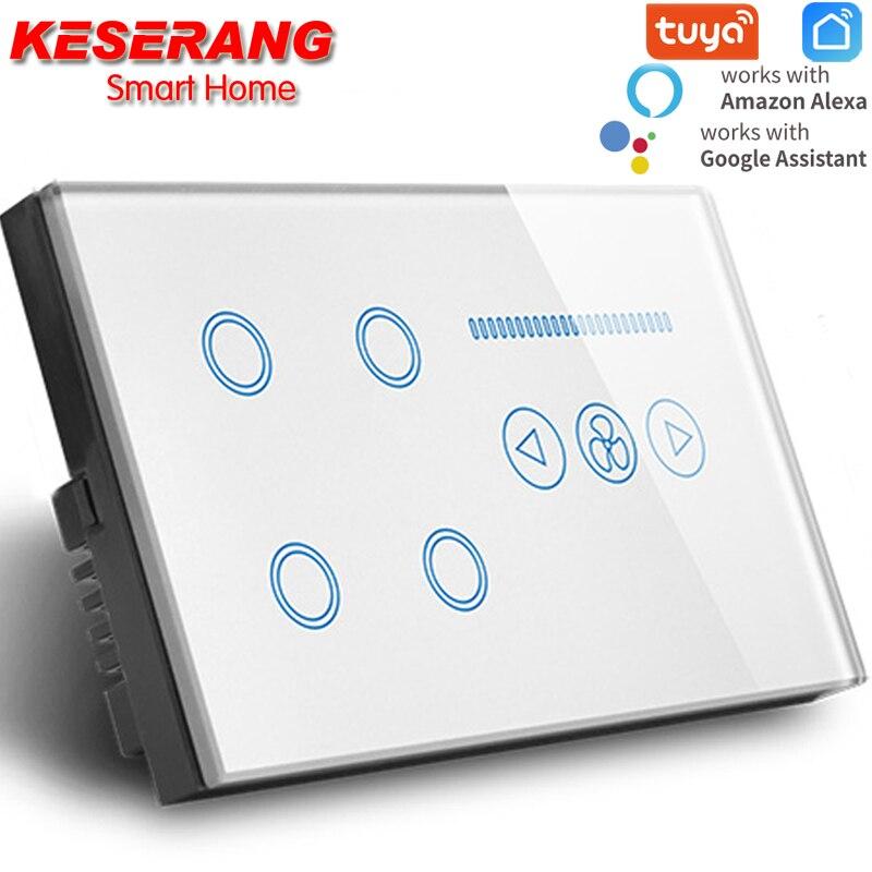مفتاح إضاءة Tuya Smart WIFI ، مفتاح إضاءة WIFI مع 4 مقاود ، مروحة سقف wifi ، لوحة زجاج كريستال أبيض/أسود ، تعمل مع alexa و google