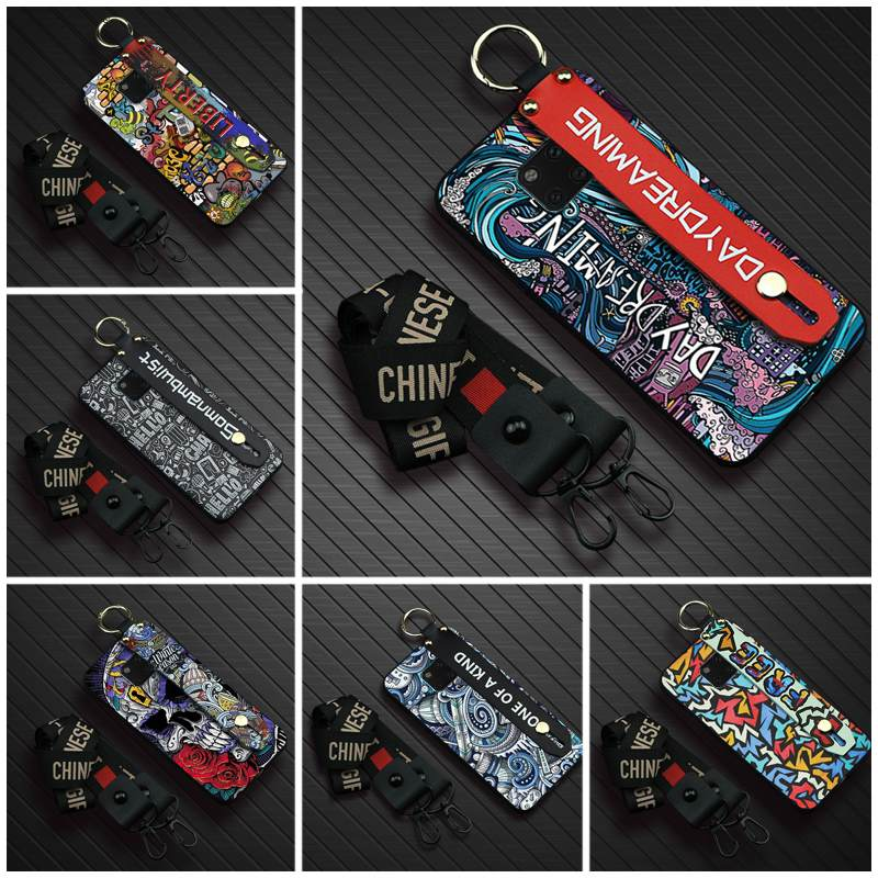 Durable Wrist Strap Phone Case For Huawei Mate 20 Pro New Graffiti cover Soft Back Cover Lanyard