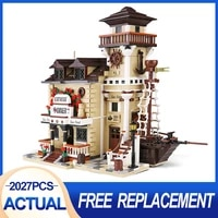 2027pcs moc streetview building toys the boat house diner model sets building blocks assembly bricks kids toys birthday gifts