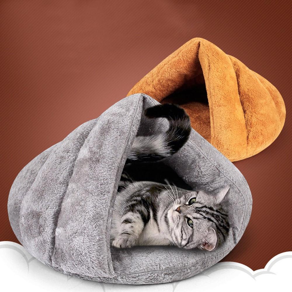 Invierno cálido cesta iglú cueva sólido saco de dormir para mascota perro gato espesar camas alfombrillas casa gatito suave acogedor interior cojín perrera