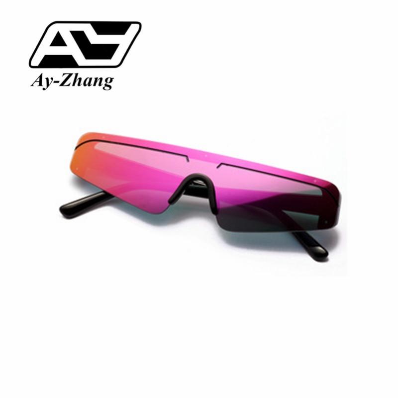 Ay-zhang 2019 New Fashion Cool Half Frame Small Rectangle Sunglasses UV400 One Piece Purple Sun Shades Brand Designer