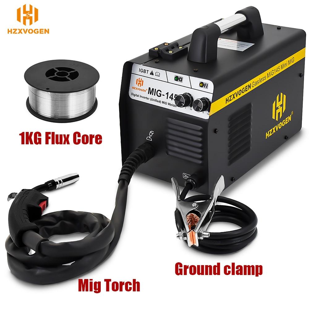 220V HZXVOGEN Mig Welder MIG145 No Gas Gasless Welding Machine Fit 0.6mm 0.8mm Flux Core For Household Soldering