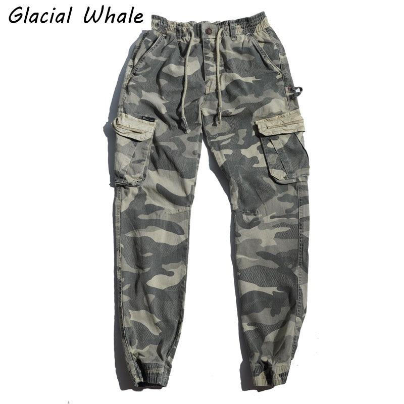 Glacialالحوت الرجال السراويل البضائع الرجال 2021 متعددة جيب الذكور الهيب هوب اليابانية الشارع الشهير بنطلون الركض التمويه السراويل للرجال