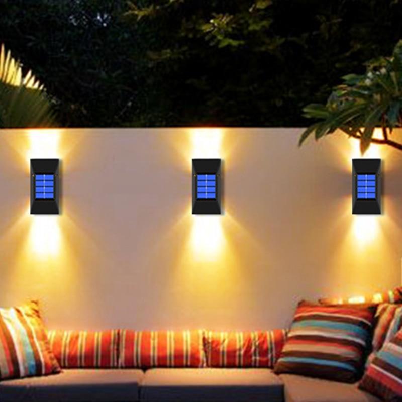 2/6 LED مصباح للطاقة الشمسية في الهواء الطلق مقاوم للماء إضاءة الشوارع مصابيح الحائط قوية تعمل بالطاقة الشمسية أضواء لتزيين الحديقة
