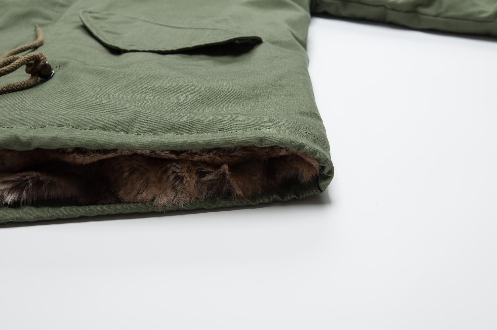 All faux fur jacket winter ski wear mini cotton canvas army coat enlarge