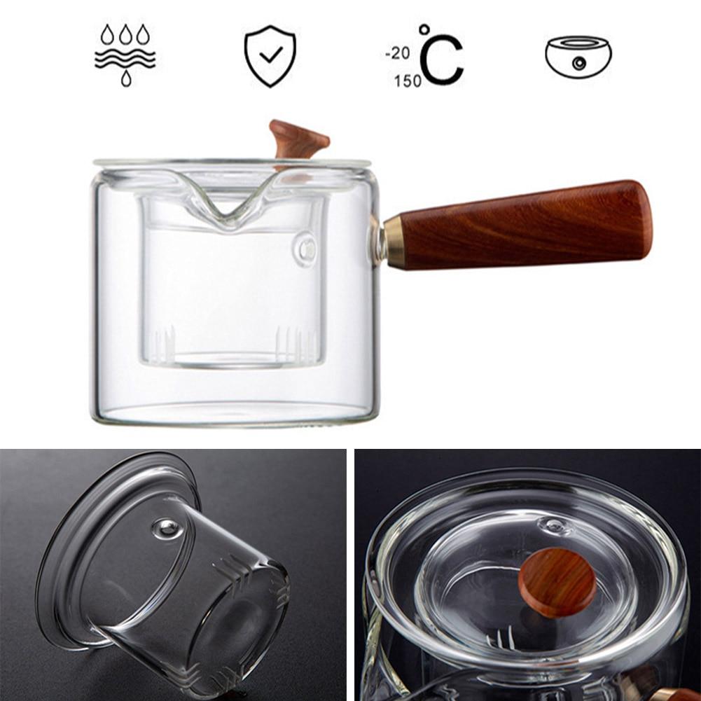 500 مللي جيد واضح البورسليكات أبريق شاي زجاجي مع الزجاج مصفاة و مقبض خشبي الحرارة مقاومة فضفاض أوراق الشاي قدر للحليب (لبّانة) غلاية