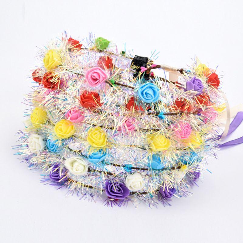 Corona de cinta larga para niñas, corona de espuma, oropel LED, Lumious, diadema M6CD
