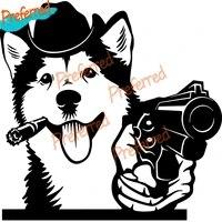 creative gangster belgian shepherd malinois alaskan dog with gun vinyl car sticker car sticker auto parts