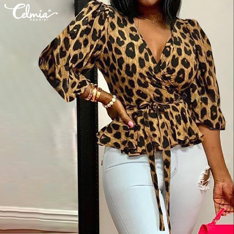 Celmia Women Blouses 5XL Elegant Office Tunic Shirt Sexy Deep V-Neck Leopard Print Belted Fashion To