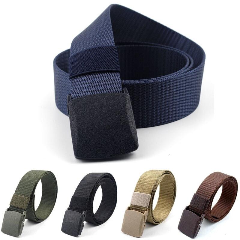 Nuevos cinturones de lona de 3,8 cm para hombre y mujer, cinturón ajustable de nailon para hombres, cinturón táctico para viajes al aire libre con hebilla de plástico para Jeans