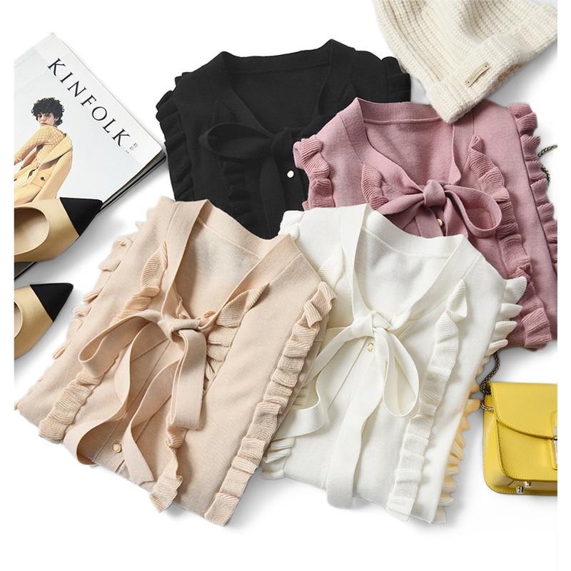 Shuchan Sweet  Ruffles  Single Breasted  Woman Sweaters  Wool Blend 2021 New Spring Knit Cardigan  Korean Fashion top enlarge