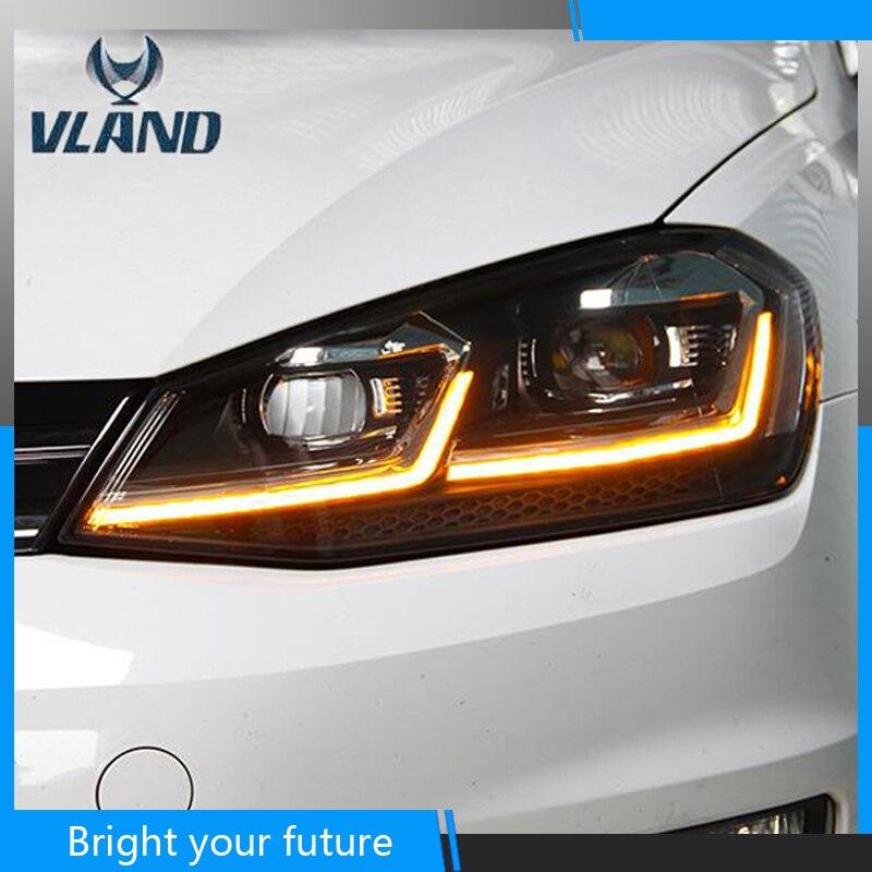 Coche para faros delanteros para Volkswagen Golf 7 Golf 7,5 faros 2013-2017 Ojos de Ángel Bi-xenón lente proyector LED DRL niebla haz de luces