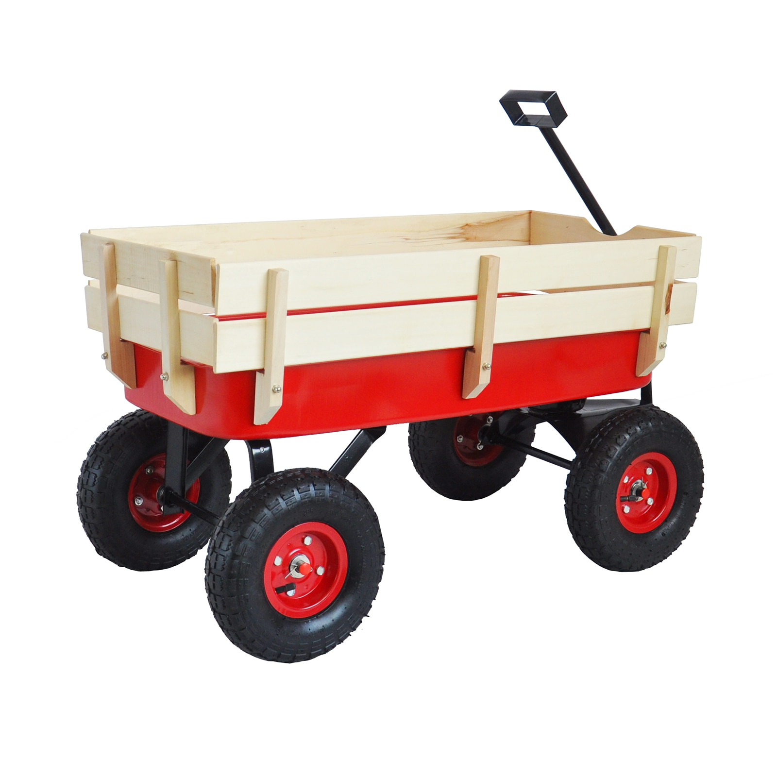 عربة حديقة خارجية بمقبض قابل للطي ، درابزين خشبي للأطفال ، إطارات هوائية لجميع التضاريس ، عربة أدوات