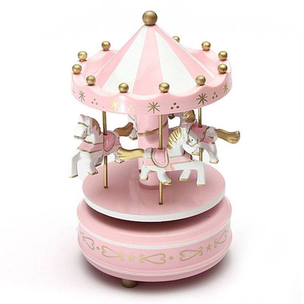Merry-Go-Round Wooden Music Box Toy Child Baby Game Home Decor Carousel horse Music Box Christmas We
