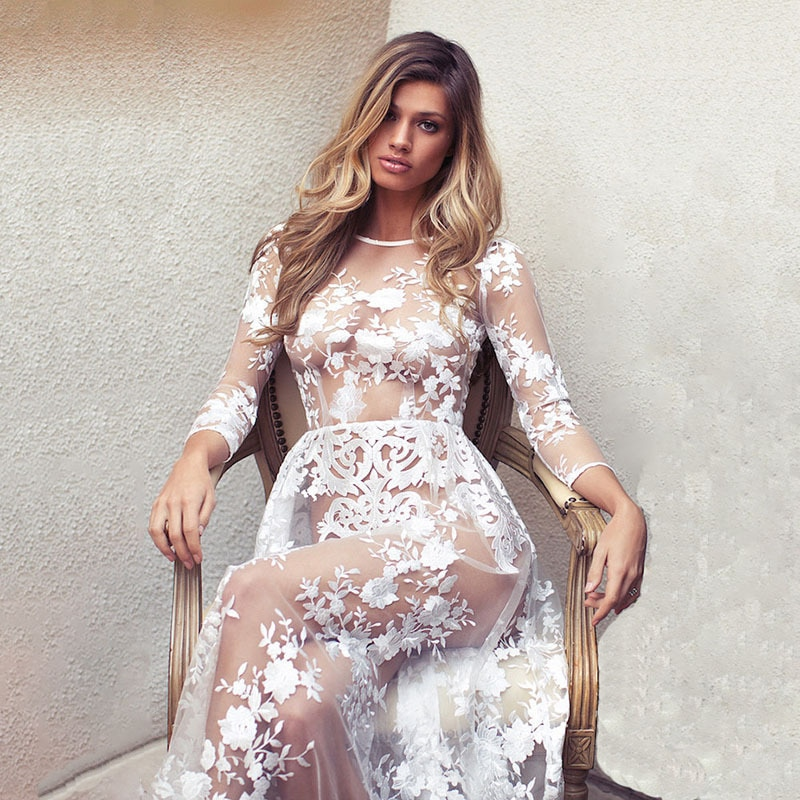Women Spring Summer Mesh Dress Ladies Casual Sexy Elegant Party Beach Lace Floral Embroidery Transparent White Long Dresses 446 moaayina fashion designer runway dress spring summer women dress lace floral embroidery black elegant dresses