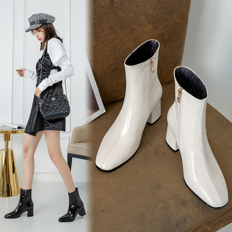 newest winter boots for women print flowers ankle boots pointed toe high heels boots 12 cm sexy stretch boots short dress shoes Pointed Toe Ankle Boots 2020 New Black Winter Boots Women Shoes Woman Leather Bow Knot Zipper Women Boots High Heels Botas Mujer